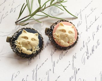 Pink And Black Cat Filigree Alligator Hair Clips