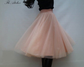 Women Tulle Skirt/Tutu Skirt/Princess Skirt/Skirt/Short Skirt/Light Pink Skirt/Light Pink Tutu Skirt/Ballet Skirt/Grunch Skirt/F1248