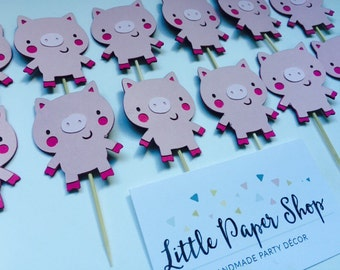 Handmade Cupcake Toppers - Pig Piglet Theme x 12