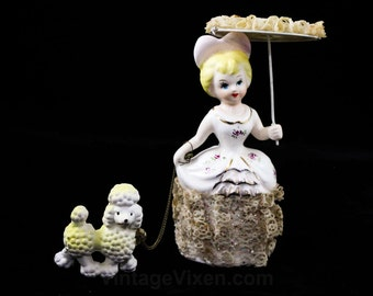 1950s Antique Lady with Parasol & Poodle - Girl Walking Her Dog - Porcelain Glitter and Lace - 50s Dog on Chain Figurine - Umbrella - R2098