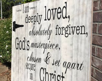 Deeply Loved Wood Sign - Christian Wall Art - Rustic Home Decor - Shabby Chic Decor - Wooden Sign - Rustic Wood Sign - Farmhouse Decor