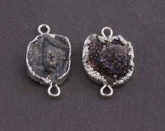 HOLIDAY SALE 2 Pcs Multi Colour Agate Druzy Drusy Druzzy Slice Electroplated 925 Silver Plated Double Bail Connector 30mmx20mm-32mmx18mm Drz