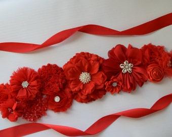 Red Sash, long sash #2, Christmas Sash, red  flower Belt, maternity sash, red flower belt, valentine sash
