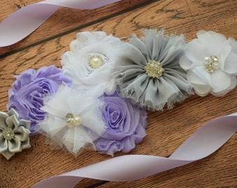 Maternity flower Sash, Violet white silver grey Sash , flower Belt, maternity sash
