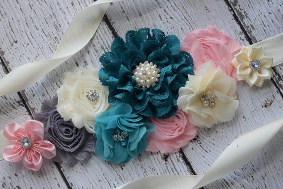 Flower Sash,  ivory teal blush pink grey Sash , flower Belt, maternity sash, blue sash