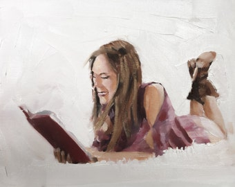 Woman Reading Painting Art PRINT woman Reading Art - wall art Art Print - from original painting by J Coates