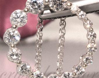 14k gold Natural White VS Diamond Pendant Charm Circle of Love Necklace set .75