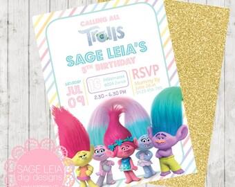 Custom Printable Pastel Rainbow Trolls Candy Stripes Blush Pink Mint Green Violet Gold Glitter Birthday Party Invitation Invite Card