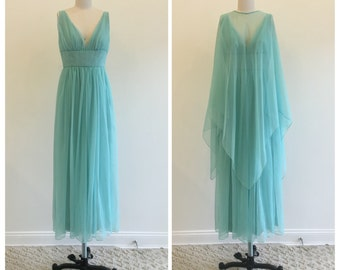 Vintage 1960s Aqua Chiffon Fomal Dress with Caplet