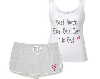 Auntie Pyjamas PJ's Lounge Wear Best Auntie Ever Ever The End Loungewear