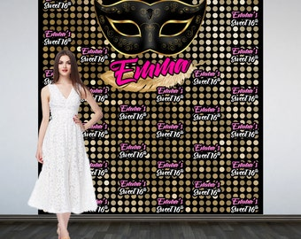 Masquerade Gold and Black Personalize Photo Backdrop - 16th Birthday Photo Backdrop Birthday- Step & Repeat 18th Birthday Photo Backdrop