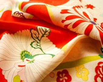 """Vintage Japanese girl's kimono fabric **Light pink Kinsya**138cm(54.3"""")"""