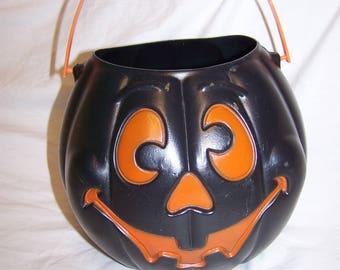 Vintage 1997 Grand Venture Hard Plastic Cat Pumpkin Halloween blow mold Pale