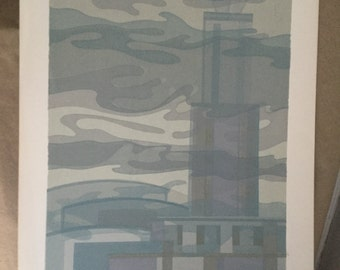 Beautiful Mid Century Lithograph Abstract City Landscape Grey Industrial