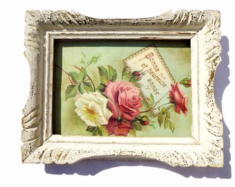 Small frame french vintage carved wooden patina white/beige 1960 - former coaching style Montparnasse - decorating shabby chic