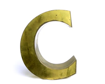 Large letter C sign metal industrial vintage 3D - marquee letter - initial brass teaches old store french mid century
