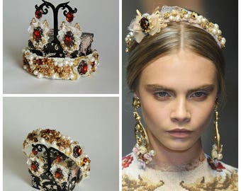 Tiara and earrings Dolce style -  Barocco Gold