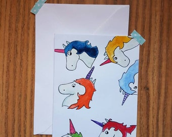Unicorn punks original watercolour card
