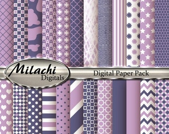 60% OFF SALE Lilac and Grape Digital Paper Pack - Commercial Use - Instant Download - M87