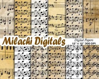 60% OFF SALE Music digital paper, music sheet paper, scrapbook paper, music notes, music background - M370