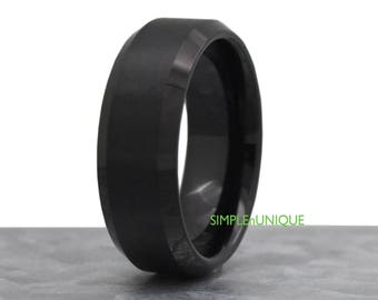 8mm Mens Black Wedding Band, Tungsten Mens Wedding Band, Unique Mens Wedding Band, Wedding Ring Mens, Men's Ring, Promise Ring for Him