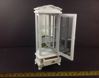 Dollhouse Miniature Furniture Living Room Home White Wood Mirror Cabinet (3 Tiers)1:12