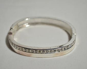 Vintage Sterling Silver Cubic Zirconia CZ Hinged Bangle Bracelet