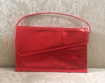 Vintage Red Clutch, Metallic Clutch, Red Metallic Bag, Red Evening Bag, Red Clutches, Red Purses, Metallic Handbags, Red Metallic Clutch