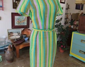 1950s Women's Green Striped Silk Dress with Belt Size S