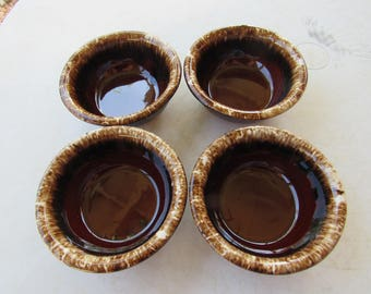 Set of 4 HULL Brown Drip Glaze Bowls