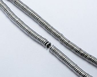 """Hematite Heishi Beads in 4mm x 1mm, Silver Tone, 16"""" Inch Strand, Disc, Spacers, Non-Magnetic #SD-S8410"""
