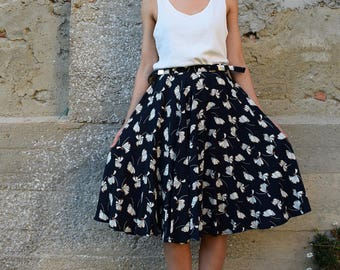 Full Skirt with Floral Pattern