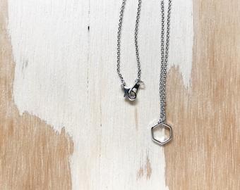 Hexagon Outline Necklace // Geometric Outline Necklace // Outline Necklace // Honeycomb Necklace