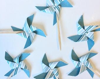 Teal and White Striped Pinwheel Cupcake Toppers / Distressed Pinwheels / Blue Cupcake Toppers / 4th of July Cupcake Topper