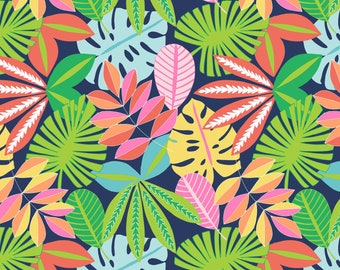 Tropical Folage in navy from Blend fabrics line See You Later, tropical print fabric by the yard, Summer beach print fabric sewing quilting