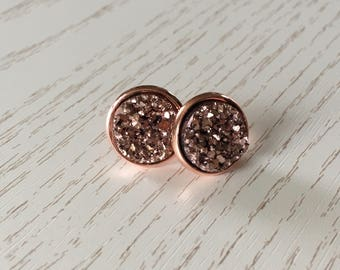 Pink star dust of earrings in Rosé gold or silver