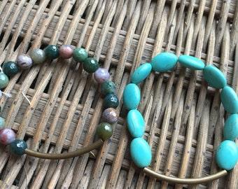 Bronze and stone bracelet