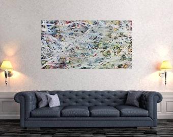 Modern abstract artwork in XXL by Alexander Zerr acrylic on canvas 80x150cm #622