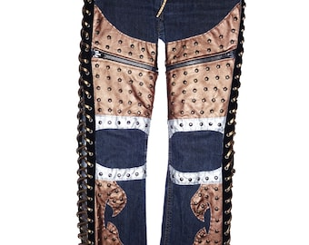 Faux Brown Leather with copper studs and side lace up on a vintage pair of jeans