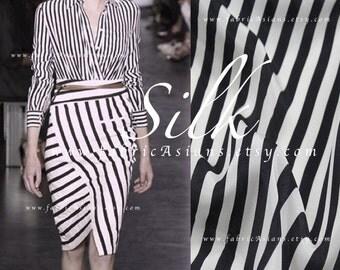Stripes Silk Black White Silk Crepe - vente tissu soie imprimée