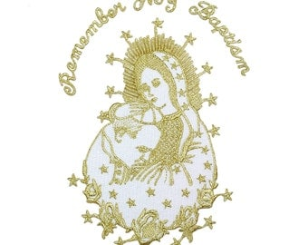 Embroidered Iron On Patch Christening Clergy Religious Costume Blessed Mother of God Virgin Mary & Pope Santa Maria Papa Gold Silver