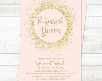 Pink and Gold Rehearsal Dinner Invitation, Pink Gold Glitter Wedding Rehearsal Dinner, Pink Gold Wedding