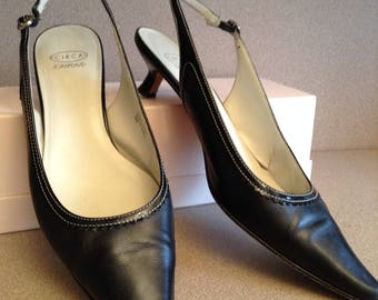 Black Leather Pumps size 9; Circa Joan and David special occasion sling back shoes