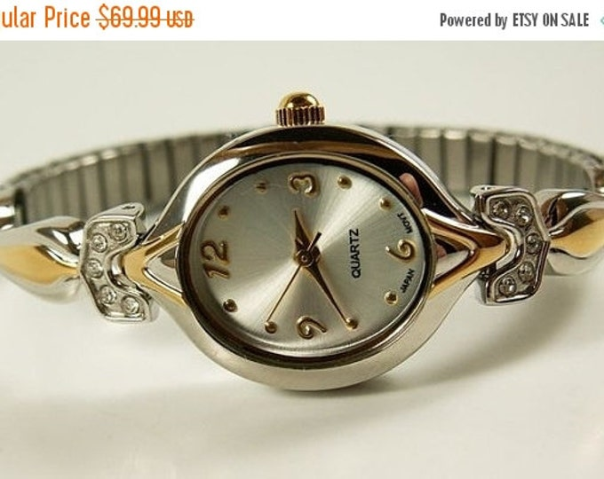 Storewide 25% Off SALE Delicate Vintage Ladies Elegant Quartz Silver and Gold Tone Watch Featuring Decorative Rhinestone Embellished Bracele