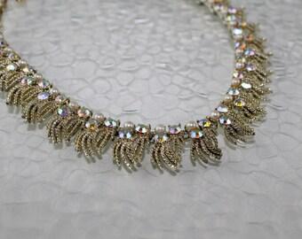 Vintage Coro Rhinestone and Pearl Necklace, JW226