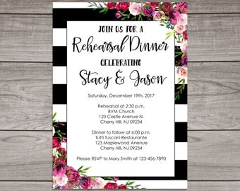Floral Rehearsal Dinner Invitations - Black and Pink Floral Rehearsal Dinner invitation - Wedding - Dinner Rehearsal - Rehearsal-104