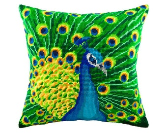 "Cross Stitch Kit, Peacock Pillow, Size 16""x16"" (40х40 cm), Printed Canvas, Modern Needlepoint Kit, DIY Kit"