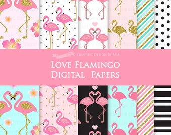 Flamingo  / Pink and Gold Flamingo / Gold Glitter / Hawaiian Party / Tropical Digital Paper Pack - Instant Download - DP109