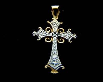 Vintage Estate 10k Yellow & White Gold Religious Crucifix Cross Pendant 0.5g E1022