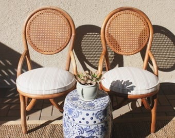 Pair of Vintage Cane + Rattan Side Chairs with New Striped Linen Seats